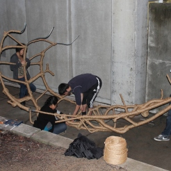 An architecture group puts on the finishing touches onto their project. Photo by Celina Oseguera.