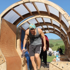Although not a mobile home in society's sense, it is in a literal sense. The middle portions of this structure move in a circular motion when a person lays back or forward on the mobile portion.